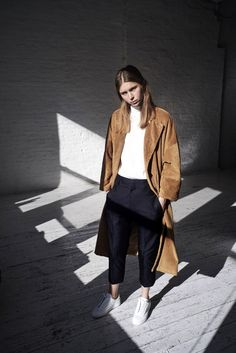 corduroy camel coat, turtleneck, cropped pants and white sneakers // minimal cool style