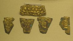 Taplow - Decorative Mounts  Gold ornaments from the burial mound at Taplow in south Buckinghamshire.