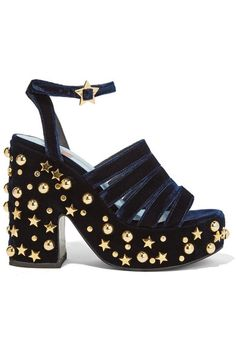 EXCLUSIVE AT NET-A-PORTER.COM. In 2010, Leandra Medine launched the website Man Repeller founded on the principal that women who love fashion dress solely for themselves. Made from plush velvet, these 'Lol If You Think I'm Walking' sandals are set on a chunky platform heel, embellished with scores of gold stars and studs. Further their playful feel by wearing yours with equally sparkly separates.