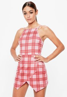 Pink Scuba 90s Neck Skort Playsuit