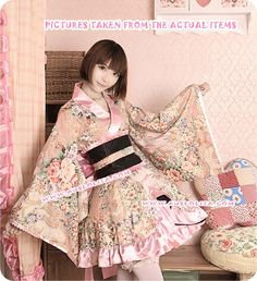 Elegant princess wa lolita op dress, featuring details oriented flower prints and ruffles, especially designed for wa lolita lovers. Harajuku Mode, Harajuku Fashion, Japanese Outfits, Japanese Fashion, Kimono Fashion, Lolita Fashion, Dresses Online, Dresses For Sale, Prom Dresses