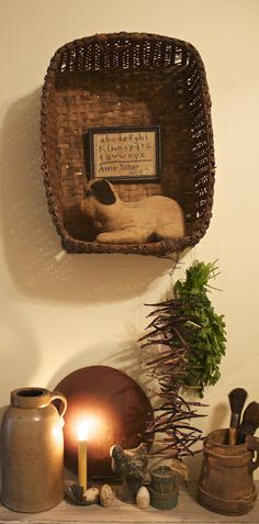Love the basket hanging on the wall to display your treasures!
