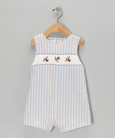 Take a look at this Blue & Orange Seersucker Stripe Airplane John Johns - Infant by Petit Pomme on #zulily today!