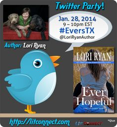 Twitter chat: Join author Lori Ryan on 1/28 from 9-10pm EST to chat about her new release, Ever Hopeful, the first book of the new Evers, Texas series. #giveaways #contemporaryromance