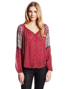 Lucky Brand Women's Petaluma Peasant Blouse, Red Multi, Small