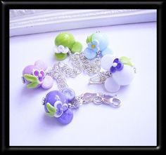 Pastel Rainbow Minnie Mouse Lampwork Sterling Silver Charm Bracelet