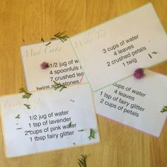 Little Miss EYFS: 5 tips…creating mud kitchen recipe cards – natural playground ideas