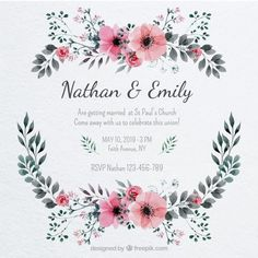 Pretty wedding invitation with a floral frame Free Vector Beautiful Wedding Invitations, Floral Wedding Invitations, Wedding Invitation Cards, Wedding Cards, Watercolor Wedding, Floral Watercolor, Wedding Card Format, Hand Drawn Flowers, Wedding Frames
