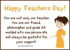 Want to thank your teacher for making you a good person? Sharing with you Thank you Greetings for Teachers Day Wishes with Quotes. Greetings For Teachers Day, Teachers Day Message, Happy Teachers Day Wishes, Greeting Cards For Teachers, Teachers Day Poster, Happy Birthday Quotes For Friends, Teachers Day Gifts, Teacher Cards, Teachers Corner