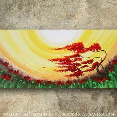 "Sunset Painting Cherry blossom tree 20""x40"" Windy day in poppies field Contemporary Art Sunrise Acrylic Original art on canvas by KSAVERA"