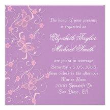 Elegant Dream Lavender Butterfly Wedding Invite