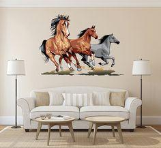 kcik167 Full Color Wall decal horse herd  sheep running  animal living children's bedroom
