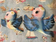 FREE SHIPPING RARE Vintage Antique Bluebirds and Daisies In Flight Family Wall Art Hanging Plaques Sculptures Collectible Wall Decor Set by MoonFaces on Etsy