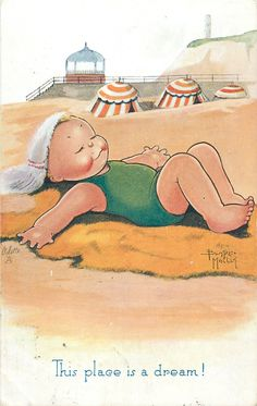 THIS PLACE IS A DREAM! Beatrice Mallet- vintage Oilette postcard... girl sleeps peacefully on the beach