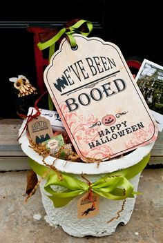THis site has plenty of super cute options to choose from! HURRY UP OCTOBER! It's Written on the Wall: {16 Versions} You've Been BOOed! Fun Treats for the Neighborhood!