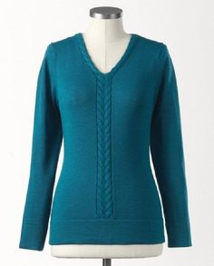 NWT Ladies Coldwater Creek Softspun merino mix cable sweater Deep Peacock Blue L #ColdwaterCreek #VNeck