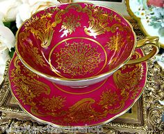 PARAGON DEEP RED & GOLD GILT CHINTZ PATTERN  TEA CUP AND SAUCER