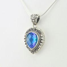 [5568] sterling silver caribbean quartz pear pendant