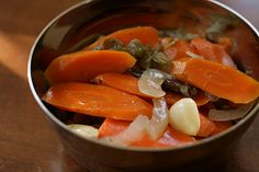 A Bluebonnet in Beantown: Mexican spicy pickled carrots (zanahorias en escabeche) - the recipe calls for vinegar, but I would reduce it Mexican Dishes, Mexican Food Recipes, Dinner Recipes, Ethnic Recipes, Party Recipes, Spicy Carrots, Pickled Carrots, Carrot Recipes, Healthy Recipes