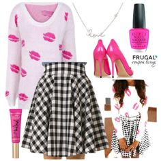 Valentine's Day Outfit. Looking for something to wear on Valentine's Day, we love this lip sweater with a fun check  pattern skirt. Frugal Fashion Friday Outfit of the Day on Frugal Coupon Living.