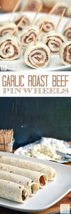 Garlic Roast Beef Pinwheels | by Life Tastes Good make a tasty appetizer that is quick and easy too. It only takes about 5-10 minutes to put these together, and they can be made up ahead of time! It doesn't get much better than that for quick and easy party food!