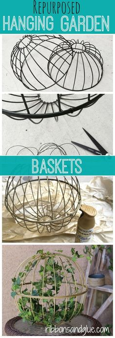 Repurposed Hanging Baskets in to Outdoor Decor. All you need is wire and spray paint to make this easy outdoor DIY project.