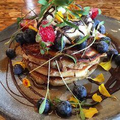 Buttermilk pancakes w milk chocolate, berries, whipped yoghurt cream and maple syrup...  #pillarofalt