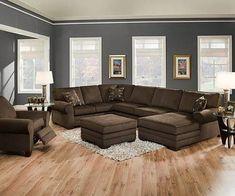 Gray walls, brown furniture | Living Room Ideas | Pinterest