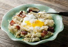 Breakfast risotto with bacon and artichokes - a perfect late Sunday morning meal with family.