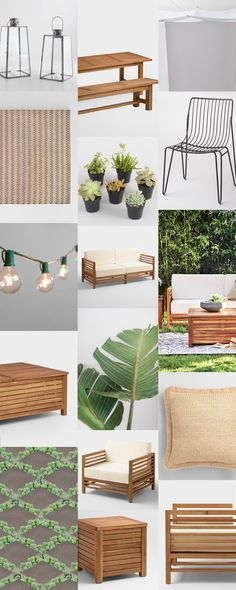 Modern tropical outdoor moodboard, featuring warm woods, tropical foliage and a paver grid patio with succulents in between