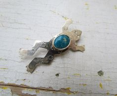 Vintage Sterling Silver Frog Brooch With Turquoise by LUXXOR, $38.00