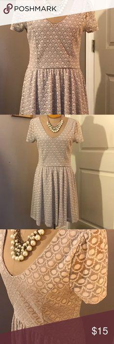 Perfect Springtime Cream Dress🐰🐣 Lightly worn LC Lauren Conrad lacy dress LC Lauren Conrad Dresses