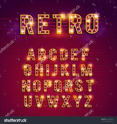 Retro Lightbulb Alphabet, Lights, Casino, Retro, Alphabet Banco de ilustração vetorial 433342975 : Shutterstock