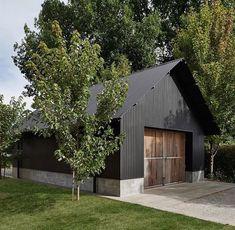 Backyard art studio plans modern shed prefab studio shed. Modern Shed, Modern Barn, Modern Farmhouse, Modern Garage, Farm Shed, Black Barn, Black Shed, Barns Sheds, Sheds Nz