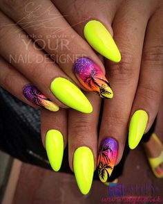 Top ideas for Yellow Nail art designs Top 150 ideas for Yellow Nail art designs – Reny styles Yellow Nails Design, Yellow Nail Art, Neon Yellow Nails, Neon Nails, My Nails, Bright Nails, Palm Tree Nails, Vacation Nails, Beach Nails