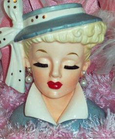 LUCY NAPCO BRUSH LASH 1959 HEAD VASE VINTAGE LADY HEADVASE BLONDE BEAUTY NR! | eBay