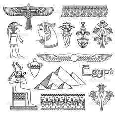 "Buy the royalty-free Stock vector ""Seamless pattern sketch collection of Egyptian symbols. Egyptian Symbols, Egyptian Art, Mayan Symbols, Viking Symbols, Viking Runes, Ancient Symbols, Egyptian Drawings, Faith Tattoo On Wrist, Ancient Egypt Art"