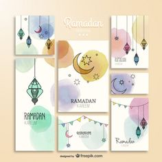 Brochuras Aquarela Ramadam Kareem Vetor grátis