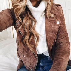 brighton the day close up up BLANKNYC brown suede jacket and white turtleneck
