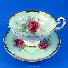 Pretty Pink Roses on Mint Background Old Royal Tea Cup and Saucer Set