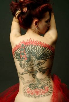 Lord Shiva Spiritual Back Tattoo.