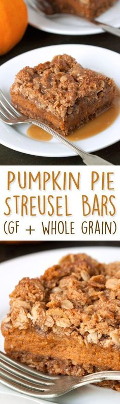 These pumpkin pie bars are loaded with streusel and are a fun alternative to traditional pumpkin pie! {gluten-free, 100% whole grain}