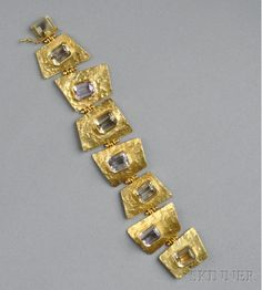 18kt Gold Bracelet, Ed Wiener, the abstract textured links bezel-set with alternating citrines and pink quartz