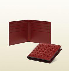 leather studded bi-fold wallet