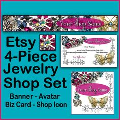ETSY 4 Piece JEWELRY VINTAGE Set  Shop Banners by StylePointDesign