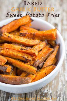 Baked Garlic Butter Sweet Potato Fries