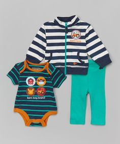 Look at this Jungle Green Stripe Farm Animal Bodysuit Set - Infant on #zulily today!