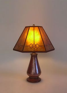 Copper Small Table Lamp, Amber Windowpane Mica Mission Lamp Shade