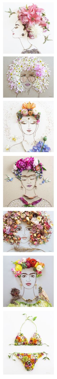 Portraits made completely of flowers by Vicki Rawlins! Prints available at sistergolden.com