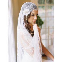 Soft lace edge silk tulle blusher drop by EricaElizabethDesign, $305.00